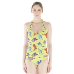 Dinosaurs   Yellow Finch Halter Swimsuit