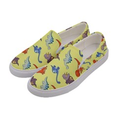 Dinosaurs   Yellow Finch Women s Canvas Slip Ons by WensdaiAddamns