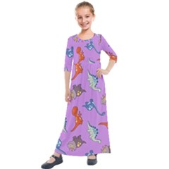 Dinosaurs   Violet Kids  Quarter Sleeve Maxi Dress by WensdaiAddamns