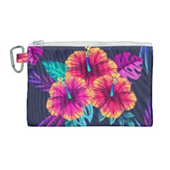 Neon Flowers Canvas Cosmetic Bag (large) by goljakoff