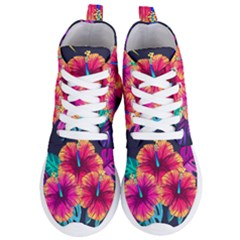 Neon Flowers Women s Lightweight High Top Sneakers by goljakoff