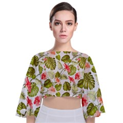 Tropical Leaves Tie Back Butterfly Sleeve Chiffon Top by goljakoff