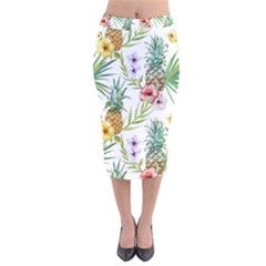 Tropical Pineapples Velvet Midi Pencil Skirt by goljakoff