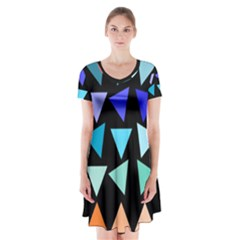 Zappwaits Triangles Short Sleeve V-neck Flare Dress by zappwaits