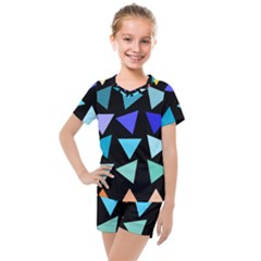 Zappwaits Triangles Kids  Mesh Tee And Shorts Set by zappwaits