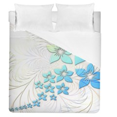 Flowers Background Leaf Leaves Blue Duvet Cover (queen Size) by Mariart