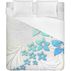 Flowers Background Leaf Leaves Blue Duvet Cover (california King Size) by Mariart