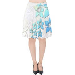 Flowers Background Leaf Leaves Blue Velvet High Waist Skirt