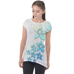Flowers Background Leaf Leaves Blue Cap Sleeve High Low Top by Mariart