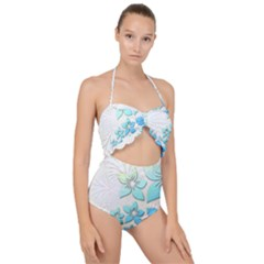 Flowers Background Leaf Leaves Blue Scallop Top Cut Out Swimsuit by Mariart