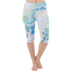 Flowers Background Leaf Leaves Blue Lightweight Velour Cropped Yoga Leggings by Mariart