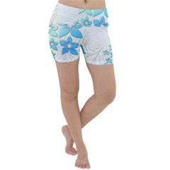 Flowers Background Leaf Leaves Blue Lightweight Velour Yoga Shorts