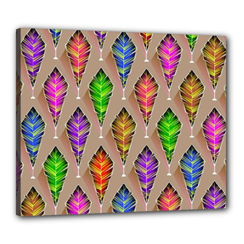 Abstract Background Colorful Leaves Canvas 24  X 20  (stretched)