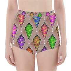 Abstract Background Colorful Leaves High-waisted Bikini Bottoms