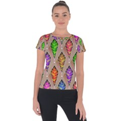 Abstract Background Colorful Leaves Short Sleeve Sports Top  by Alisyart