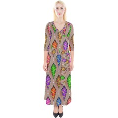 Abstract Background Colorful Leaves Quarter Sleeve Wrap Maxi Dress by Alisyart