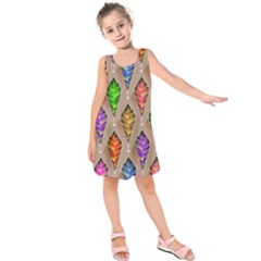 Abstract Background Colorful Leaves Kids  Sleeveless Dress by Alisyart