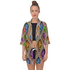Abstract Background Colorful Leaves Open Front Chiffon Kimono