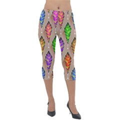 Abstract Background Colorful Leaves Lightweight Velour Capri Leggings  by Alisyart