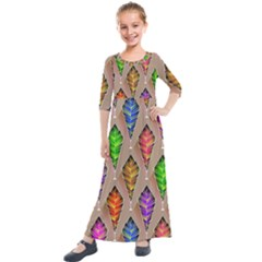 Abstract Background Colorful Leaves Kids  Quarter Sleeve Maxi Dress by Alisyart
