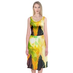 Forest Trees Nature Wood Green Midi Sleeveless Dress