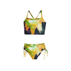 Forest Trees Nature Wood Green Girls  Tankini Swimsuit by Pakrebo
