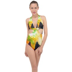 Forest Trees Nature Wood Green Halter Front Plunge Swimsuit