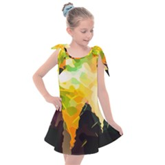Forest Trees Nature Wood Green Kids  Tie Up Tunic Dress