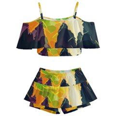 Forest Trees Nature Wood Green Kids  Off Shoulder Skirt Bikini by Pakrebo