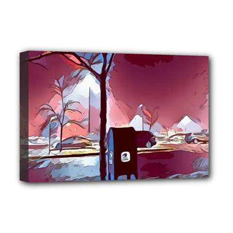 Post Office Mail Mailbox Night Deluxe Canvas 18  X 12  (stretched) by Pakrebo