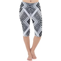 Pattern Tile Repeating Geometric Lightweight Velour Cropped Yoga Leggings