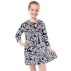 Flames Fire Pattern Digital Art Kids  Quarter Sleeve Shirt Dress