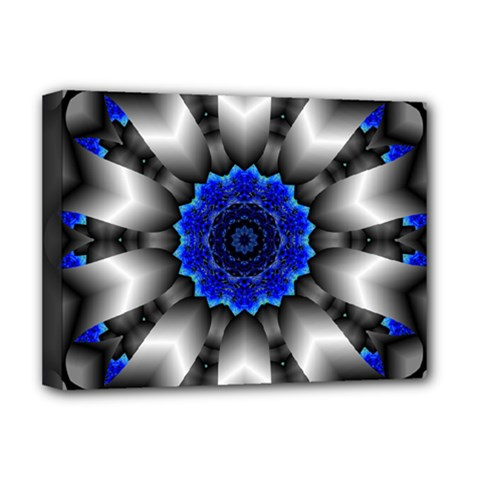 Kaleidoscope Abstract Round Deluxe Canvas 16  X 12  (stretched)  by Pakrebo