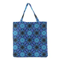 Blue Tile Wallpaper Texture Grocery Tote Bag by Pakrebo