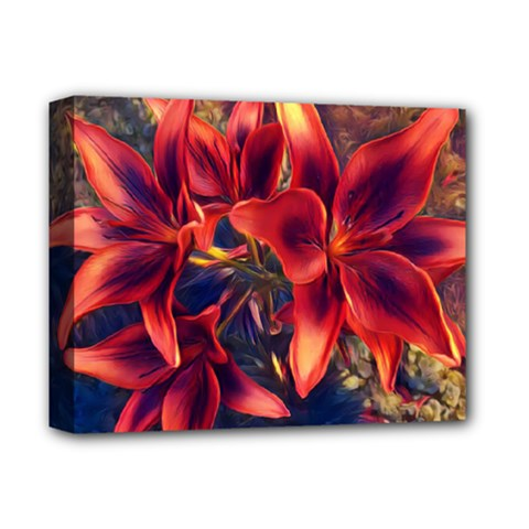 Red Lillies Bloom Flower Plant Deluxe Canvas 14  X 11  (stretched) by Pakrebo