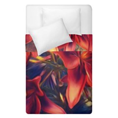 Red Lillies Bloom Flower Plant Duvet Cover Double Side (single Size)