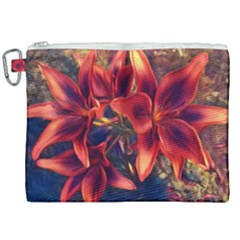 Red Lillies Bloom Flower Plant Canvas Cosmetic Bag (xxl)