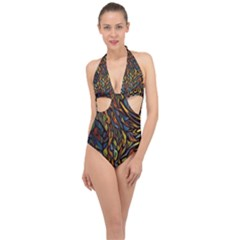 Stained Glass Window Glass Colorful Halter Front Plunge Swimsuit