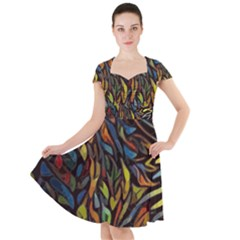 Stained Glass Window Glass Colorful Cap Sleeve Midi Dress by Pakrebo