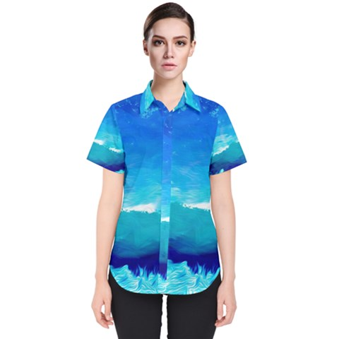 Blue Sky Artwork Drawing Painting Women s Short Sleeve Shirt by Pakrebo