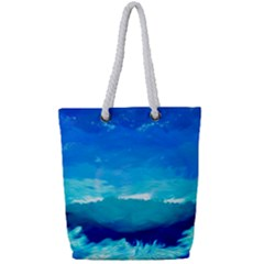 Blue Sky Artwork Drawing Painting Full Print Rope Handle Tote (small)