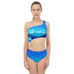 Blue Sky Artwork Drawing Painting Spliced Up Two Piece Swimsuit