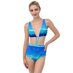 Blue Sky Artwork Drawing Painting Tied Up Two Piece Swimsuit