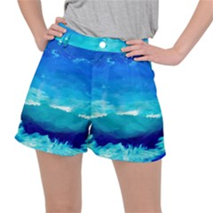 Blue Sky Artwork Drawing Painting Stretch Ripstop Shorts
