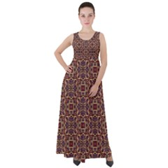 Pattern Decoration Art Ornate Empire Waist Velour Maxi Dress