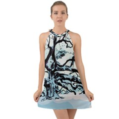 Tree Winter Blue Snow Cold Scene Halter Tie Back Chiffon Dress by Pakrebo