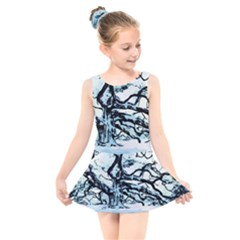 Tree Winter Blue Snow Cold Scene Kids  Skater Dress Swimsuit