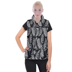 Black And White Tropical Leaves Women s Button Up Vest