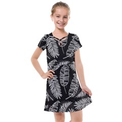 Black And White Tropical Leaves Kids  Cross Web Dress by goljakoff