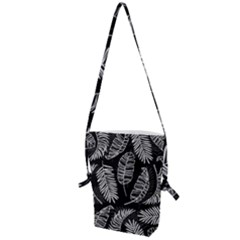 Black And White Tropical Leaves Folding Shoulder Bag by goljakoff